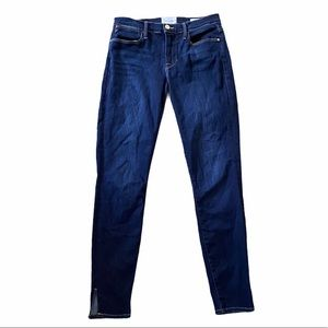 Frame Le High Slit Hem Ankle Skinny Jeans